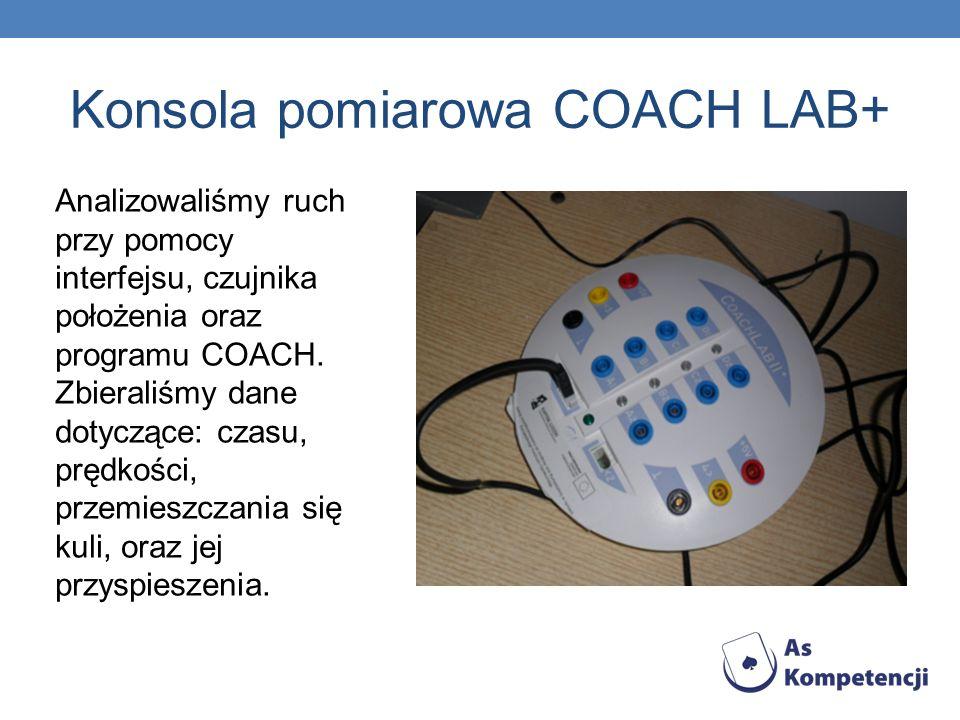 Konsola pomiarowa COACH LAB+ Analizowaliśmy ruch przy pomocy interfejsu, czujnika położenia oraz programu COACH.