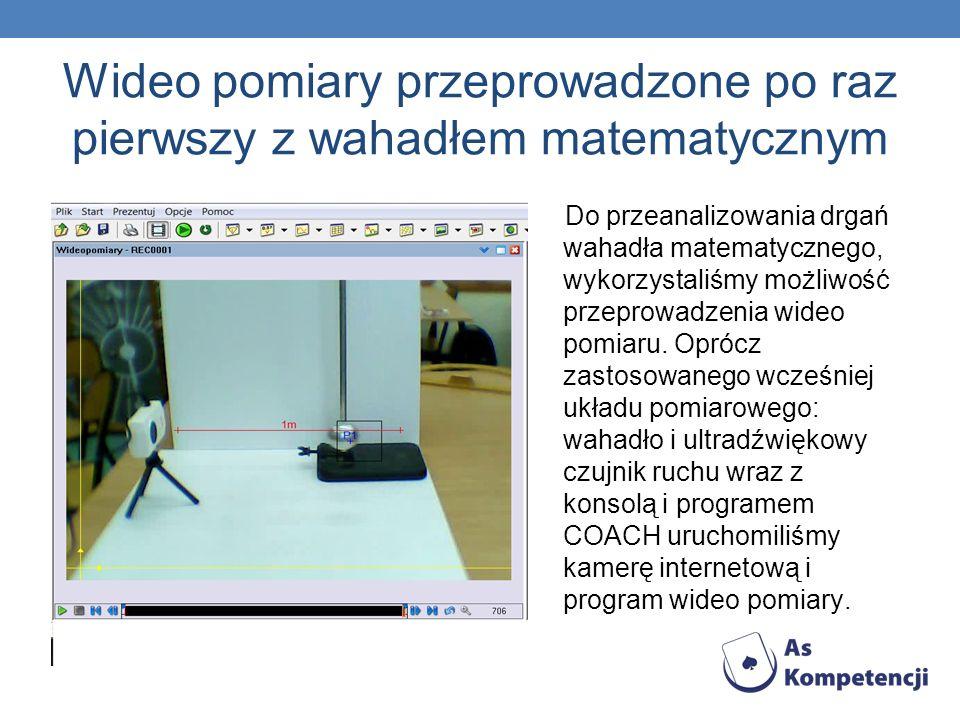 Wideo pomiary przeprowadzone po raz pierwszy z wahadłem matematycznym Do przeanalizowania drgań wahadła matematycznego, wykorzystaliśmy możliwość przeprowadzenia wideo pomiaru.
