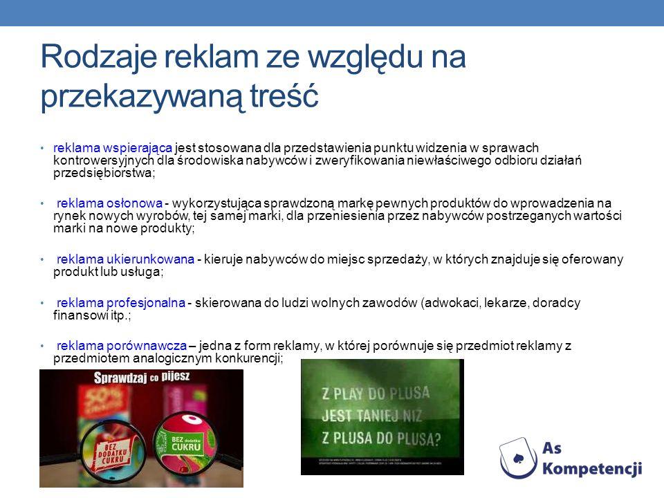 Rodzaje reklam ze względu na przekazywaną treść reklama wspierająca jest stosowana dla przedstawienia punktu widzenia w sprawach kontrowersyjnych dla
