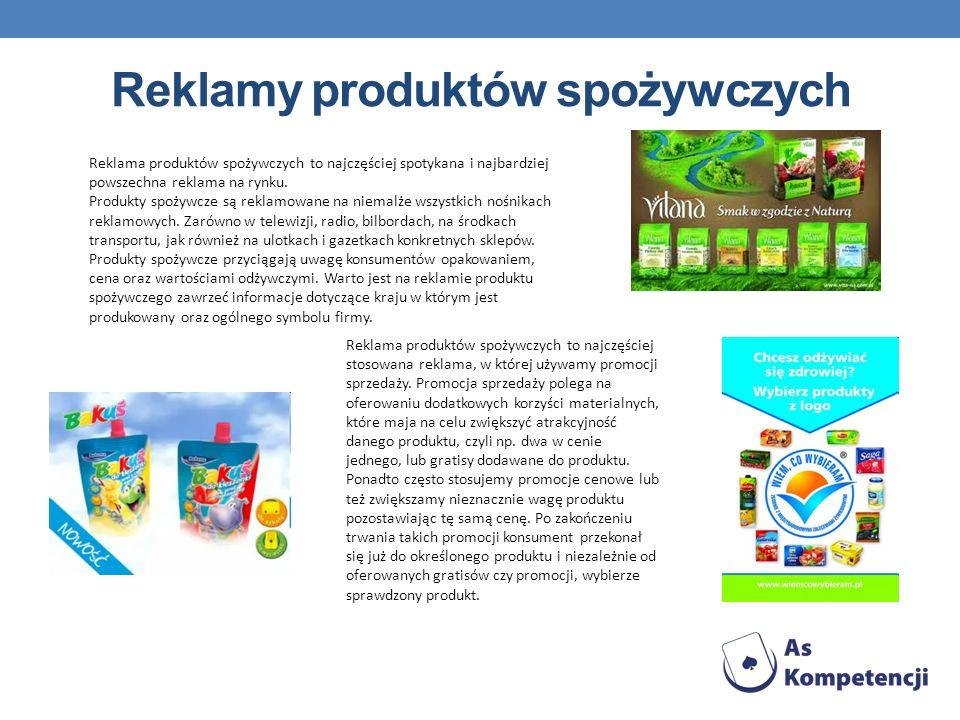 Reklamy produktów spożywczych Reklama produktów spożywczych to najczęściej spotykana i najbardziej powszechna reklama na rynku. Produkty spożywcze są