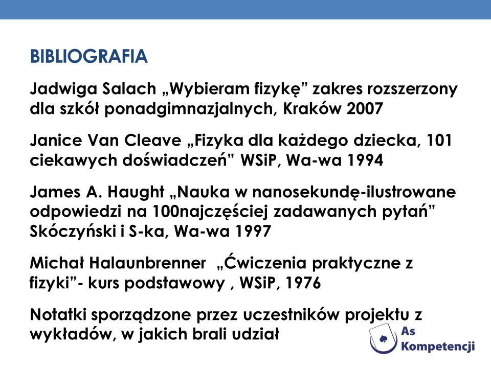 BIBLIOGRAFIA Jadwiga Salach Wybieram fizykę zakres rozszerzony dla szkół ponadgimnazjalnych, Kraków 2007 Janice Van Cleave Fizyka dla każdego dziecka,