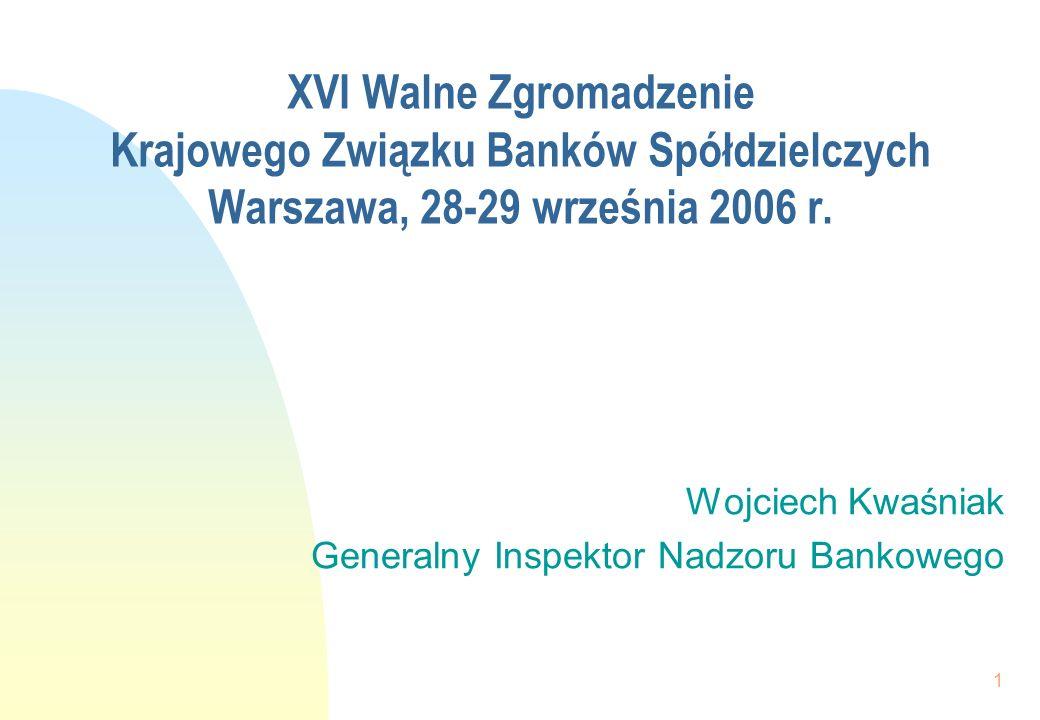 1 XVI Walne Zgromadzenie Krajowego Związku Banków Spółdzielczych Warszawa, 28-29 września 2006 r. Wojciech Kwaśniak Generalny Inspektor Nadzoru Bankow