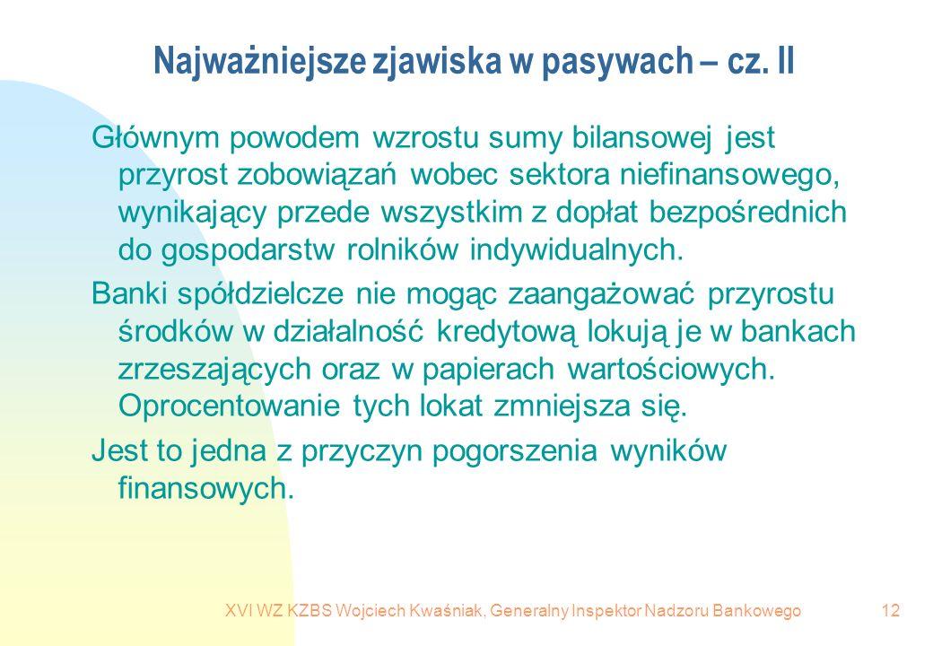 XVI WZ KZBS Wojciech Kwaśniak, Generalny Inspektor Nadzoru Bankowego12 Najważniejsze zjawiska w pasywach – cz. II Głównym powodem wzrostu sumy bilanso
