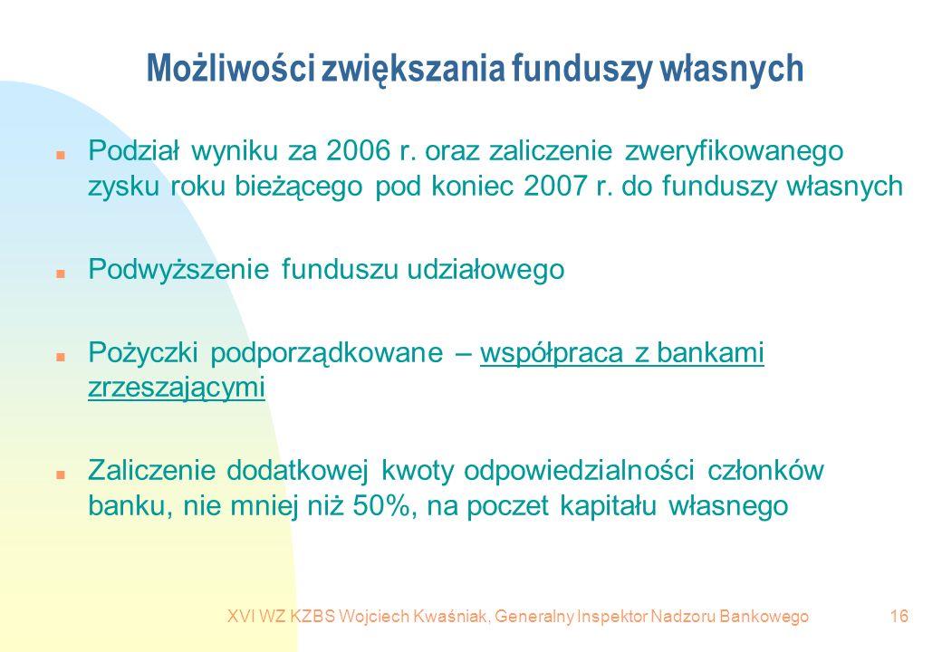 XVI WZ KZBS Wojciech Kwaśniak, Generalny Inspektor Nadzoru Bankowego16 Możliwości zwiększania funduszy własnych n Podział wyniku za 2006 r. oraz zalic
