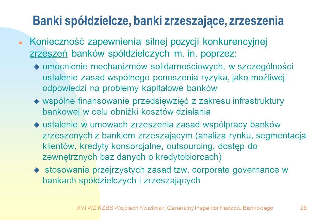 XVI WZ KZBS Wojciech Kwaśniak, Generalny Inspektor Nadzoru Bankowego28 Banki spółdzielcze, banki zrzeszające, zrzeszenia n Konieczność zapewnienia sil