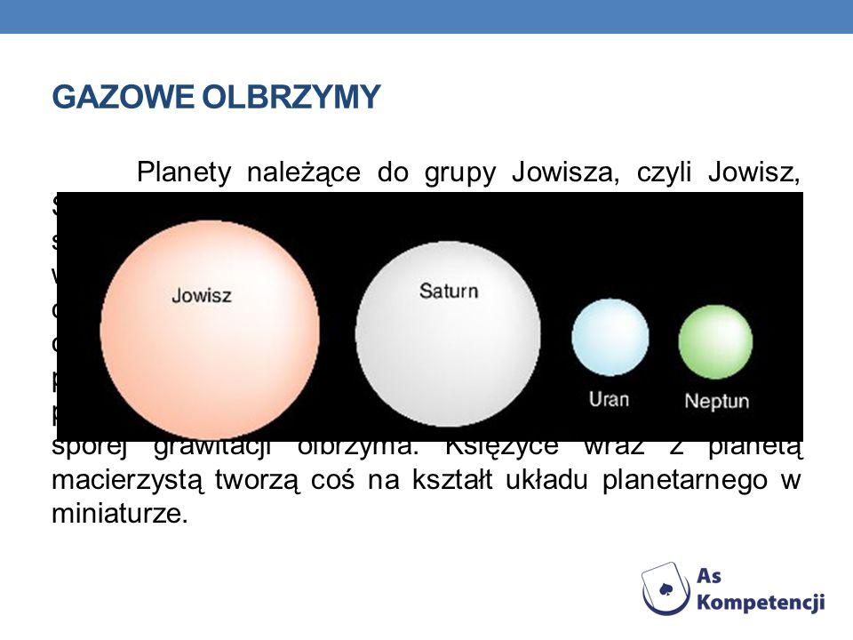 GAZOWE OLBRZYMY Planety należące do grupy Jowisza, czyli Jowisz, Saturn, Uran i Neptun, krążą dalej od Słońca, po orbitach o średnim oddaleniu 5 – 30