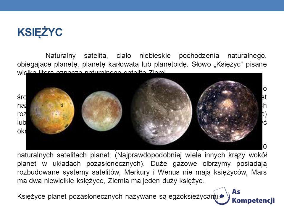 KSIĘŻYC Naturalny satelita, ciało niebieskie pochodzenia naturalnego, obiegające planetę, planetę karłowatą lub planetoidę. Słowo Księżyc pisane wielk