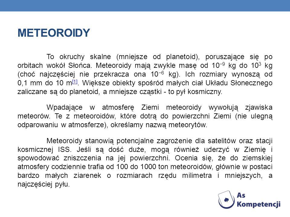 METEOROIDY To okruchy skalne (mniejsze od planetoid), poruszające się po orbitach wokół Słońca. Meteoroidy mają zwykle masę od 10 9 kg do 10 3 kg (cho