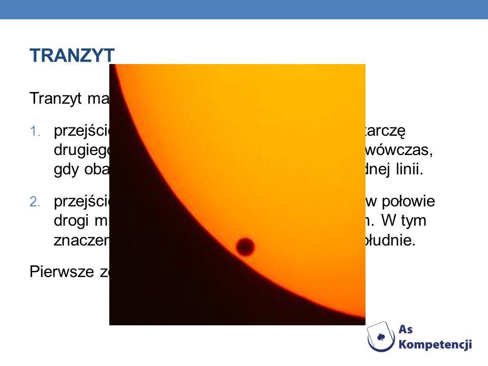 TRANZYT Tranzyt ma w astronomii dwa znaczenia: 1. przejście jednego ciała niebieskiego przez tarczę drugiego ciała niebieskiego, obserwowane wówczas,
