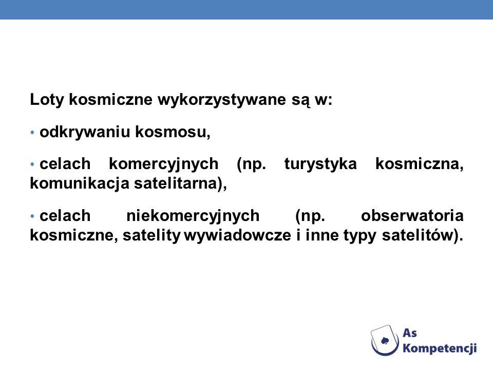 Loty kosmiczne wykorzystywane są w: odkrywaniu kosmosu, celach komercyjnych (np. turystyka kosmiczna, komunikacja satelitarna), celach niekomercyjnych