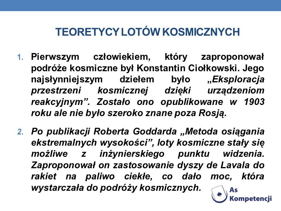 TEORETYCY LOTÓW KOSMICZNYCH 1. Pierwszym człowiekiem, który zaproponował podróże kosmiczne był Konstantin Ciołkowski. Jego najsłynniejszym dziełem był