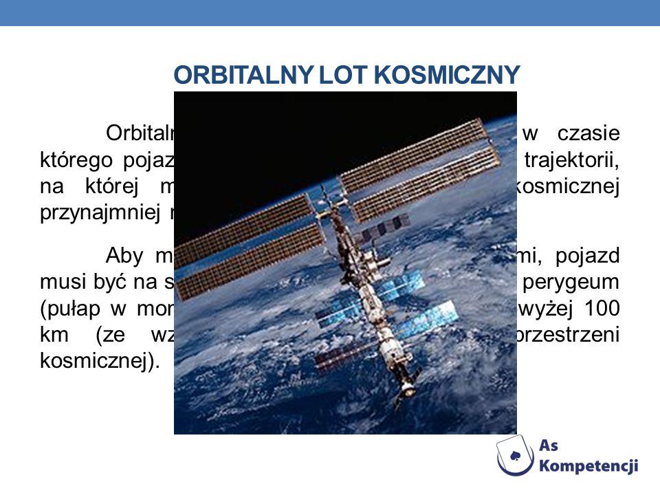 ORBITALNY LOT KOSMICZNY Orbitalny lot jest lotem kosmicznym w czasie którego pojazd kosmiczny jest umieszczony na trajektorii, na której może pozostać