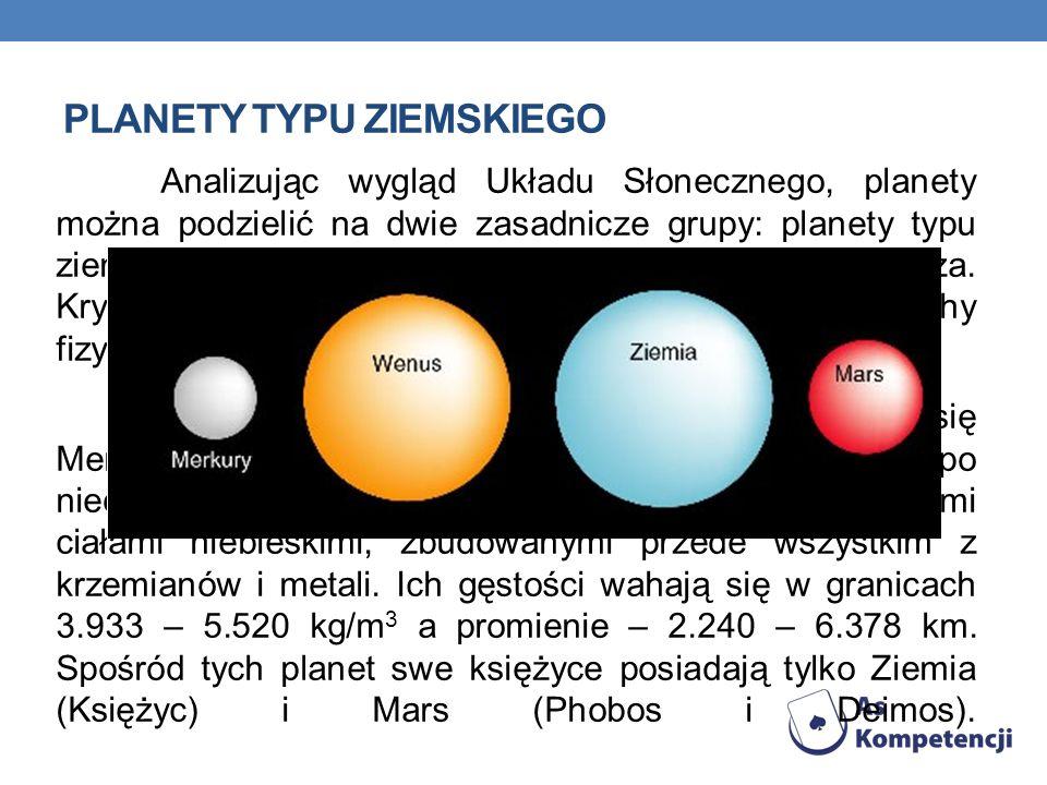 PLANETY TYPU ZIEMSKIEGO Analizując wygląd Układu Słonecznego, planety można podzielić na dwie zasadnicze grupy: planety typu ziemskiego i gazowe olbrz