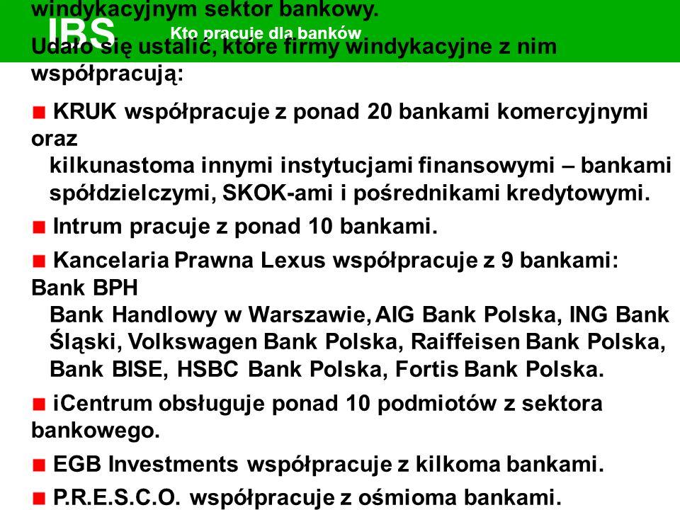 IBS Kto pracuje dla banków Nie wiemy, ile wierzytelności w 2005 r. przekazał firmom windykacyjnym sektor bankowy. Udało się ustalić, które firmy windy
