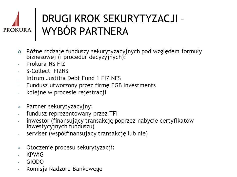 DRUGI KROK SEKURYTYZACJI – WYBÓR PARTNERA Różne rodzaje funduszy sekurytyzacyjnych pod względem formuły biznesowej (i procedur decyzyjnych): - Prokura