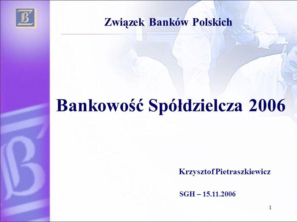 1 Bankowość Spółdzielcza 2006 Związek Banków Polskich Krzysztof Pietraszkiewicz SGH – 15.11.2006