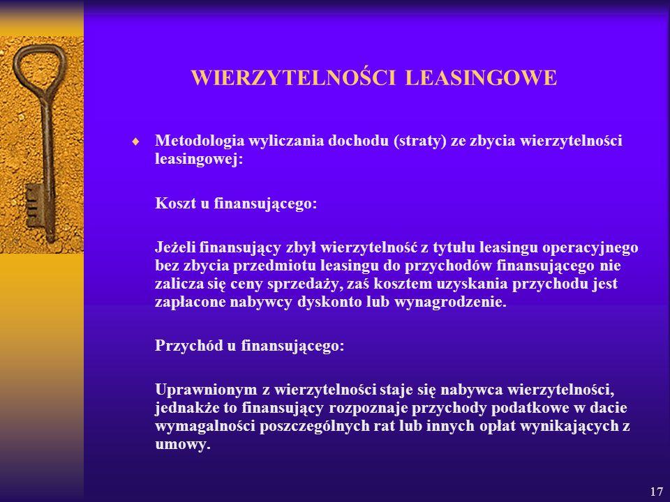 17 WIERZYTELNOŚCI LEASINGOWE Metodologia wyliczania dochodu (straty) ze zbycia wierzytelności leasingowej: Koszt u finansującego: Jeżeli finansujący z