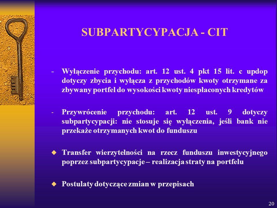 20 SUBPARTYCYPACJA - CIT - Wyłączenie przychodu: art. 12 ust. 4 pkt 15 lit. c updop dotyczy zbycia i wyłącza z przychodów kwoty otrzymane za zbywany p