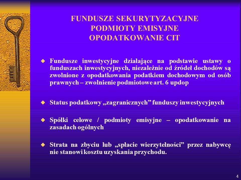 4 FUNDUSZE SEKURYTYZACYJNE PODMIOTY EMISYJNE OPODATKOWANIE CIT Fundusze inwestycyjne działające na podstawie ustawy o funduszach inwestycyjnych, nieza