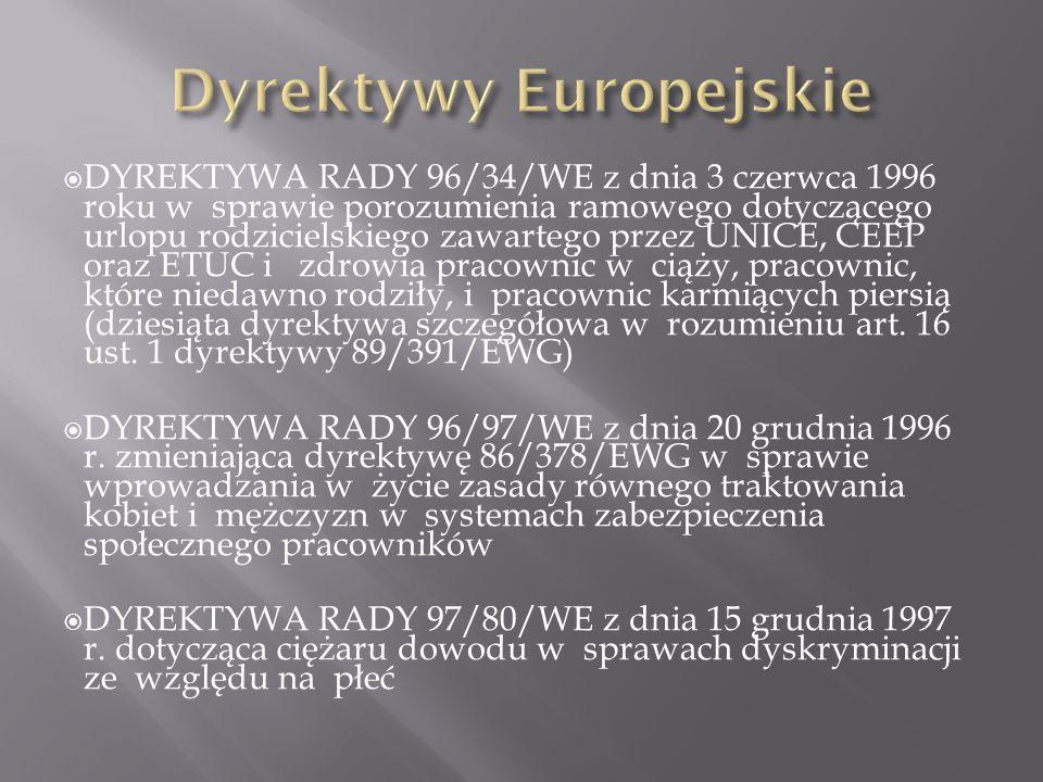 DYREKTYWA RADY 96/34/WE z dnia 3 czerwca 1996 roku w sprawie porozumienia ramowego dotyczącego urlopu rodzicielskiego zawartego przez UNICE, CEEP oraz ETUC i zdrowia pracownic w ciąży, pracownic, które niedawno rodziły, i pracownic karmiących piersią (dziesiąta dyrektywa szczegółowa w rozumieniu art.