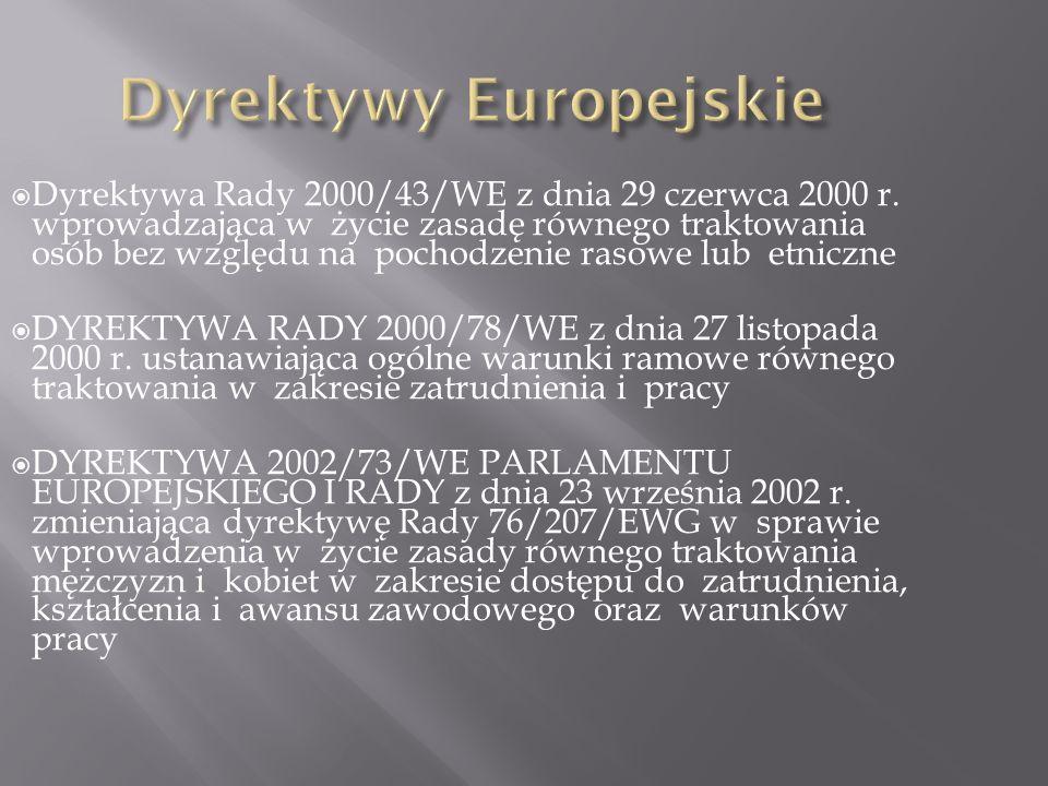 Dyrektywa Rady 2000/43/WE z dnia 29 czerwca 2000 r. wprowadzająca w życie zasadę równego traktowania osób bez względu na pochodzenie rasowe lub etnicz