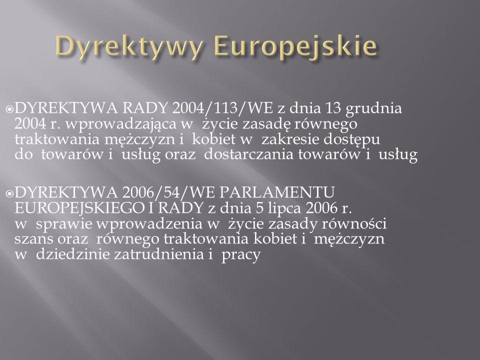 DYREKTYWA RADY 2004/113/WE z dnia 13 grudnia 2004 r. wprowadzająca w życie zasadę równego traktowania mężczyzn i kobiet w zakresie dostępu do towarów