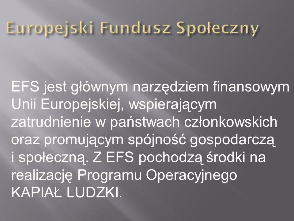 EFS jest głównym narzędziem finansowym Unii Europejskiej, wspierającym zatrudnienie w państwach członkowskich oraz promującym spójność gospodarczą i s