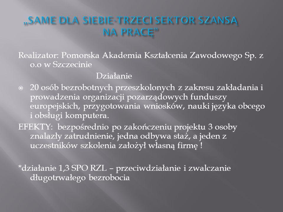 Realizator: Pomorska Akademia Kształcenia Zawodowego Sp. z o.o w Szczecinie Działanie 20 osób bezrobotnych przeszkolonych z zakresu zakładania i prowa