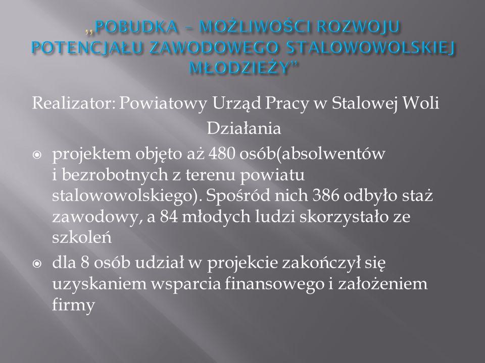 Realizator: Powiatowy Urząd Pracy w Stalowej Woli Działania projektem objęto aż 480 osób(absolwentów i bezrobotnych z terenu powiatu stalowowolskiego).