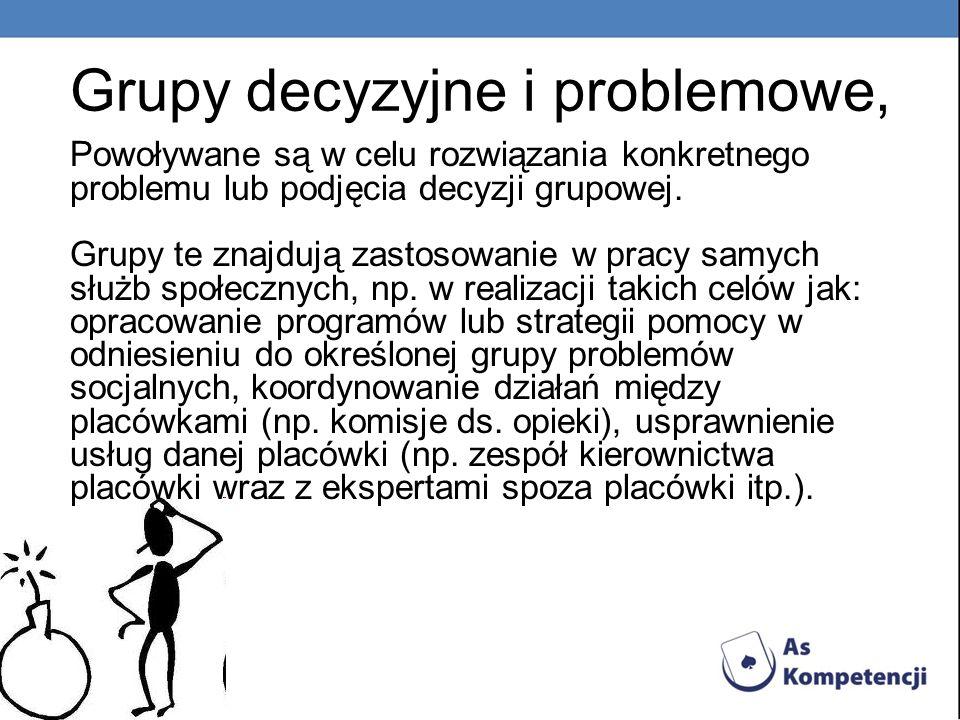 Grupy decyzyjne i problemowe, Powoływane są w celu rozwiązania konkretnego problemu lub podjęcia decyzji grupowej. Grupy te znajdują zastosowanie w pr