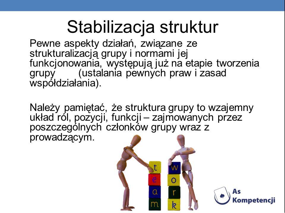 Stabilizacja struktur Pewne aspekty działań, związane ze strukturalizacją grupy i normami jej funkcjonowania, występują już na etapie tworzenia grupy