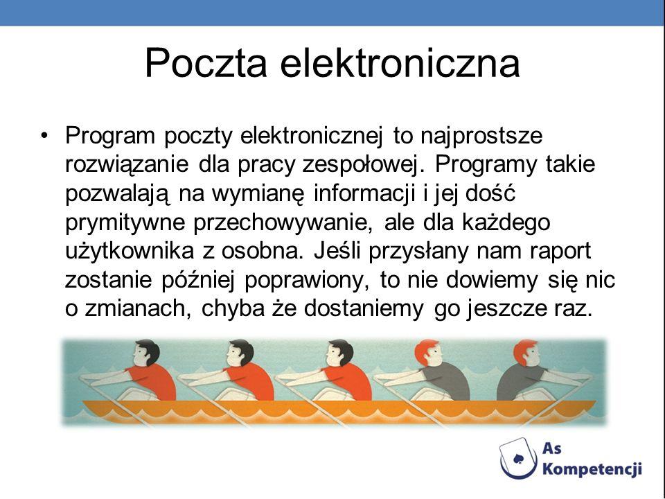 Poczta elektroniczna Program poczty elektronicznej to najprostsze rozwiązanie dla pracy zespołowej. Programy takie pozwalają na wymianę informacji i j
