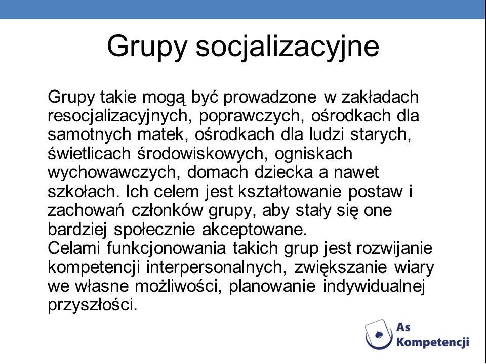 Grupy socjalizacyjne Grupy takie mogą być prowadzone w zakładach resocjalizacyjnych, poprawczych, ośrodkach dla samotnych matek, ośrodkach dla ludzi s