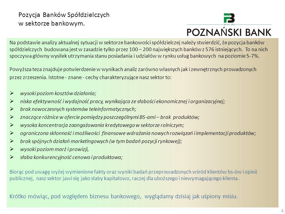 Pozycja Banków Spółdzielczych w sektorze bankowym. Na podstawie analizy aktualnej sytuacji w sektorze bankowości spółdzielczej należy stwierdzić, że p