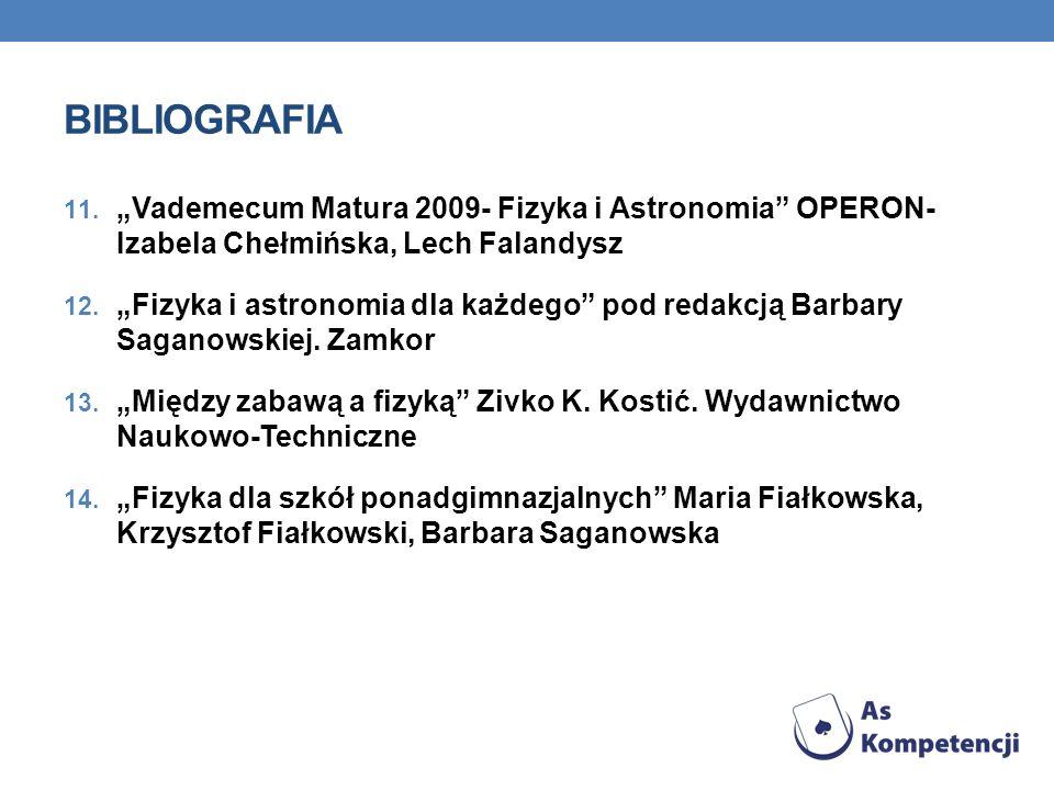 BIBLIOGRAFIA 11. Vademecum Matura 2009- Fizyka i Astronomia OPERON- Izabela Chełmińska, Lech Falandysz 12. Fizyka i astronomia dla każdego pod redakcj