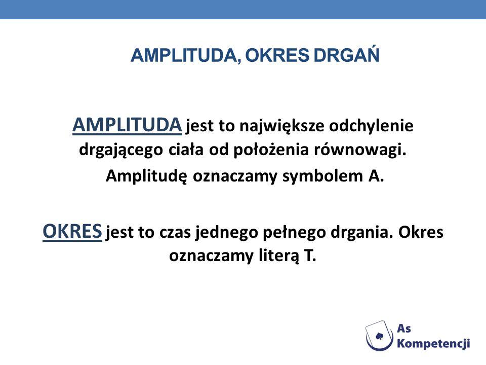 AMPLITUDA, OKRES DRGAŃ AMPLITUDA jest to największe odchylenie drgającego ciała od położenia równowagi. Amplitudę oznaczamy symbolem A. OKRES jest to
