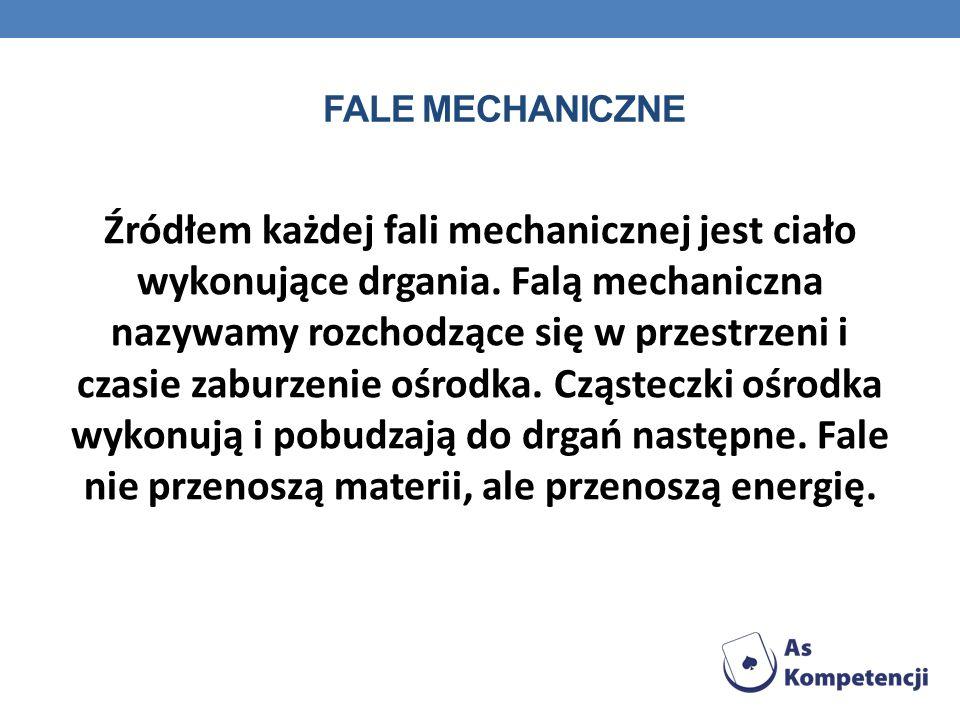 FALE MECHANICZNE Źródłem każdej fali mechanicznej jest ciało wykonujące drgania. Falą mechaniczna nazywamy rozchodzące się w przestrzeni i czasie zabu