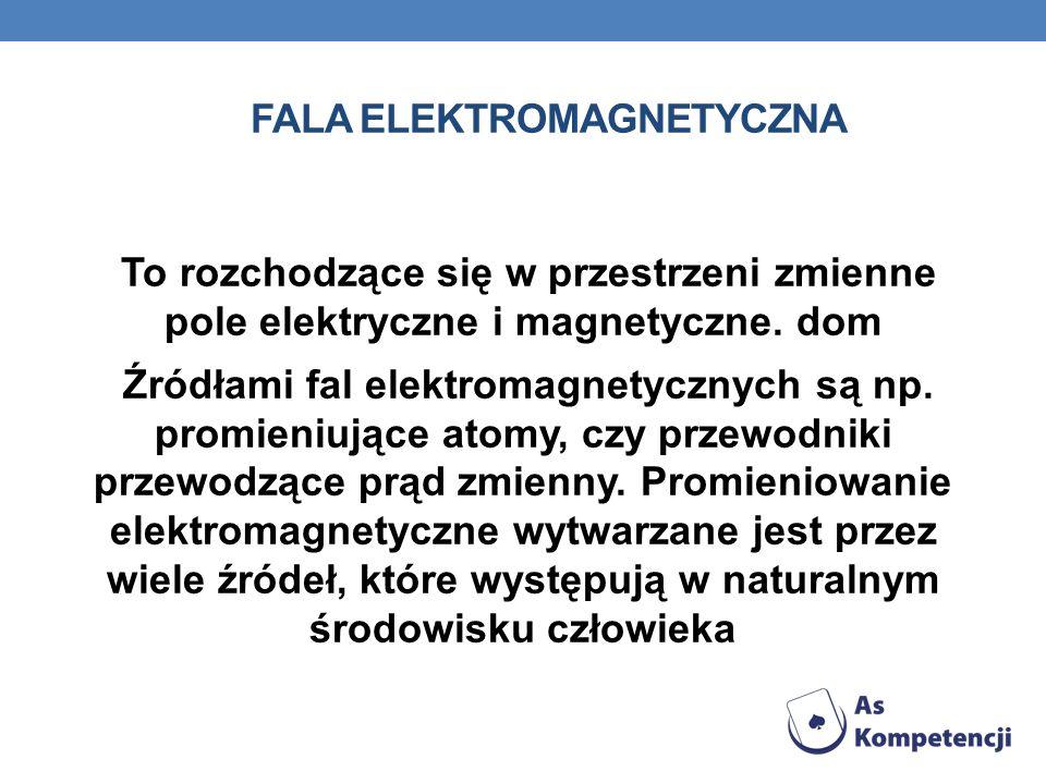 FALA ELEKTROMAGNETYCZNA To rozchodzące się w przestrzeni zmienne pole elektryczne i magnetyczne. dom Źródłami fal elektromagnetycznych są np. promieni