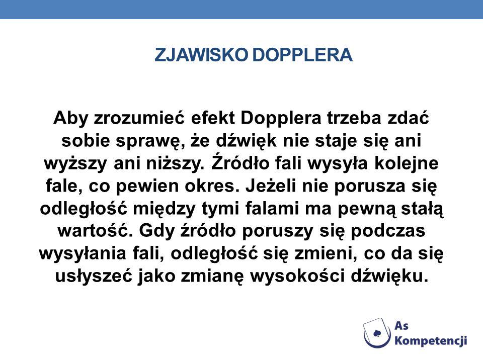 ZJAWISKO DOPPLERA Aby zrozumieć efekt Dopplera trzeba zdać sobie sprawę, że dźwięk nie staje się ani wyższy ani niższy.