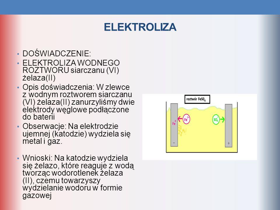 DOŚWIADCZENIE: ELEKTROLIZA WODNEGO ROZTWORU siarczanu (VI) żelaza(II) Opis doświadczenia: W zlewce z wodnym roztworem siarczanu (VI) żelaza(II) zanurz