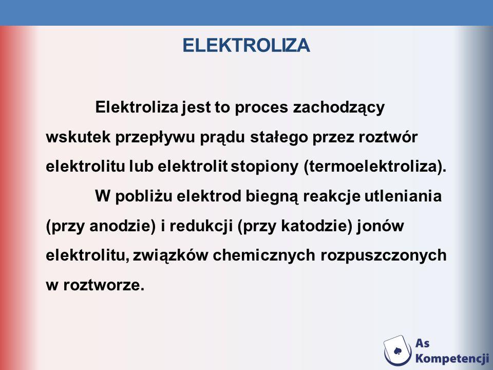 ELEKTROLIZA Elektroliza jest to proces zachodzący wskutek przepływu prądu stałego przez roztwór elektrolitu lub elektrolit stopiony (termoelektroliza)