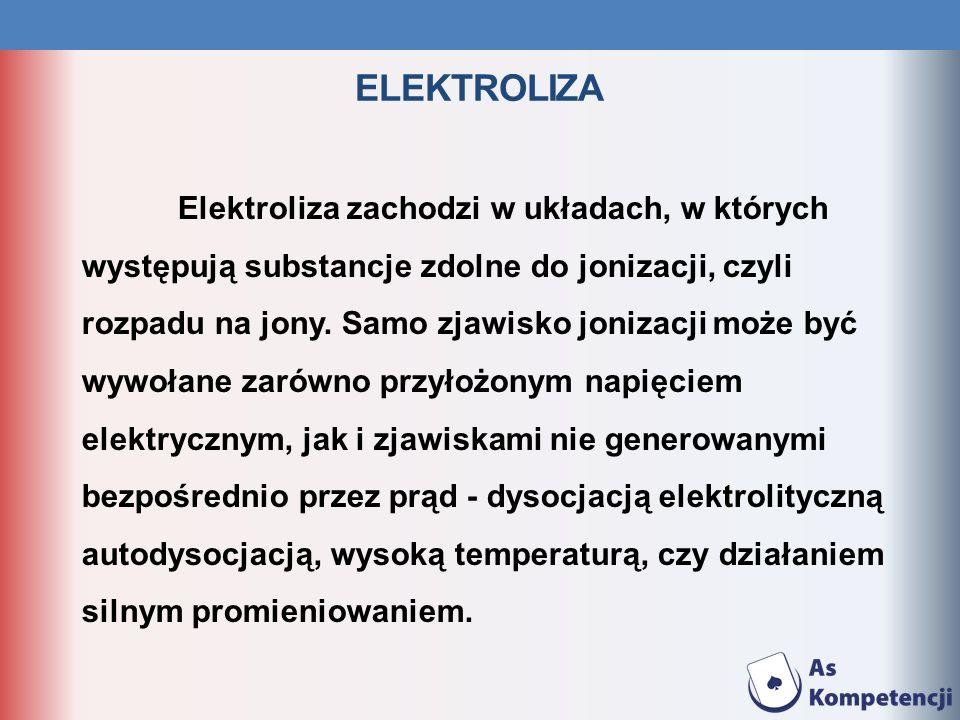 ELEKTROLIZA Elektroliza zachodzi w układach, w których występują substancje zdolne do jonizacji, czyli rozpadu na jony. Samo zjawisko jonizacji może b