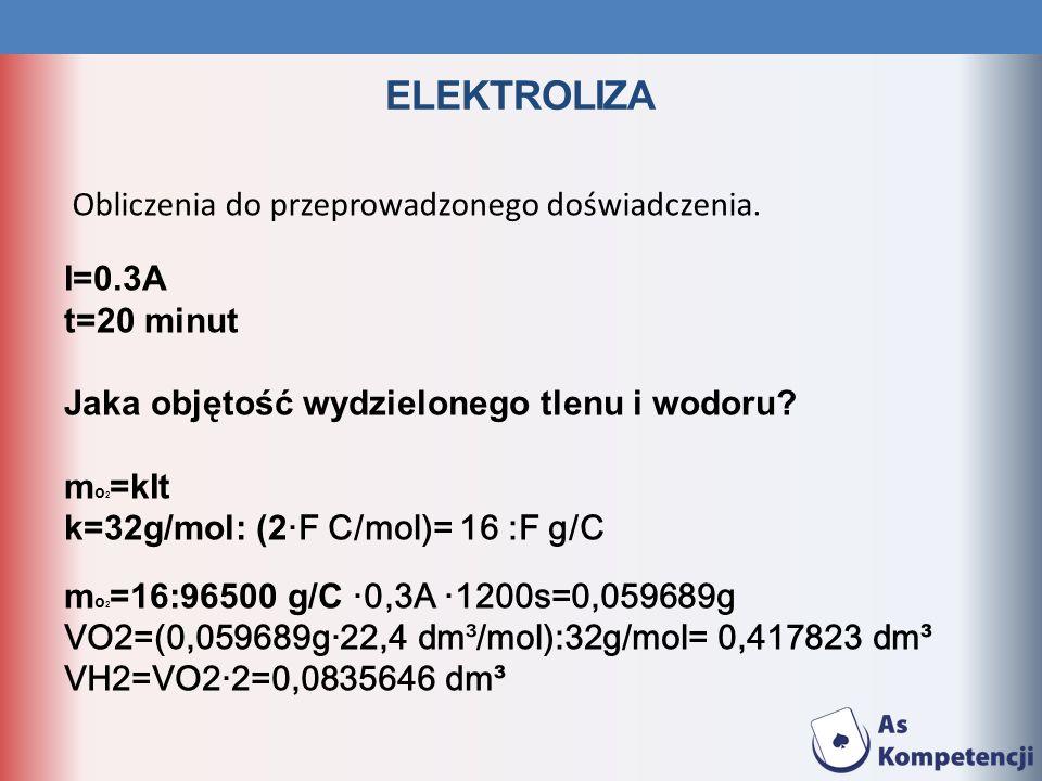 ELEKTROLIZA I=0.3A t=20 minut Jaka objętość wydzielonego tlenu i wodoru? m o 2 =kIt k=32g/mol: (2·F C/mol)= 16 :F g/C m o 2 =16:96500 g/C ·0,3A ·1200s