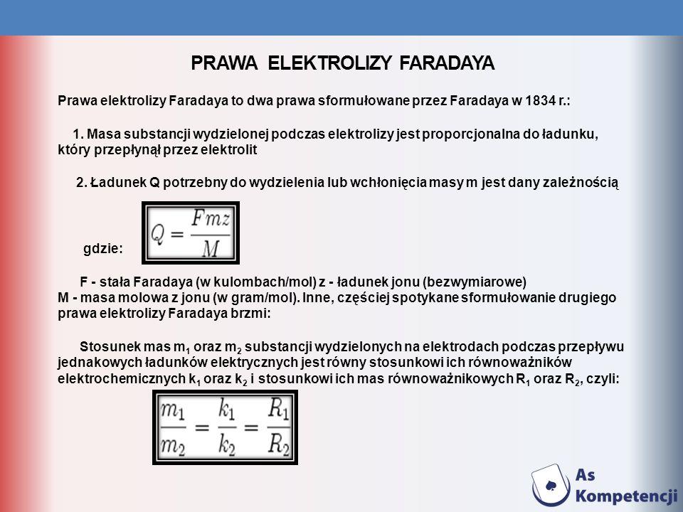 PRAWA ELEKTROLIZY FARADAYA Prawa elektrolizy Faradaya to dwa prawa sformułowane przez Faradaya w 1834 r.: 1. Masa substancji wydzielonej podczas elekt