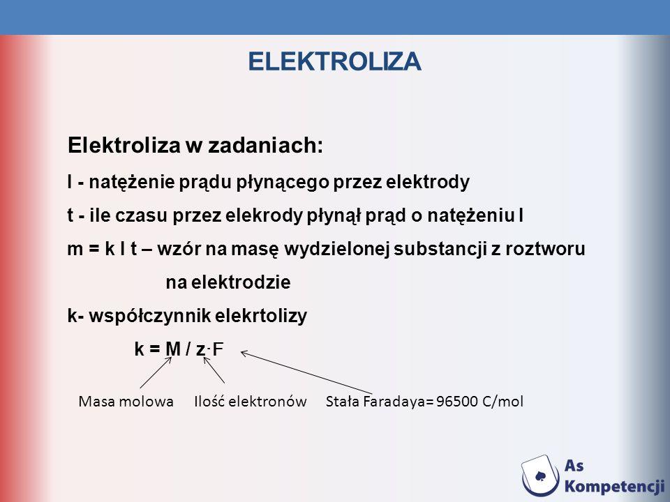 ELEKTROLIZA Elektroliza w zadaniach: I - natężenie prądu płynącego przez elektrody t - ile czasu przez elekrody płynął prąd o natężeniu I m = k I t –