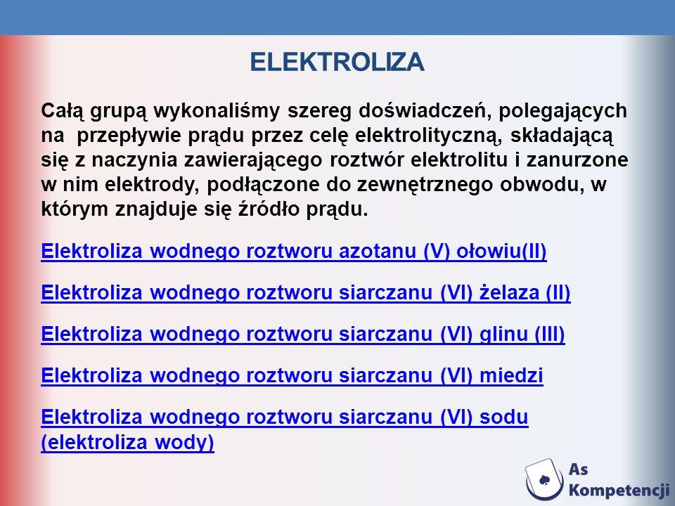 ELEKTROLIZA DOŚWIADCZENIE: ELEKTROLIZA WODNEGO ROZTWORU azotanu (V) ołowiu Opis doświadczenia: w zlewce z wodnym roztworem azotanu (V) ołowiu zanurzyliśmy dwie elektrody węglowe podłączone do baterii Obserwacje: na elektrodzie ujemnej (katodzie) wydziela się metal i gaz.