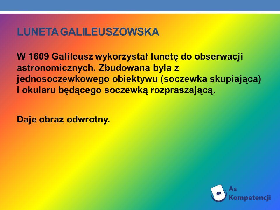 LUNETA GALILEUSZOWSKA W 1609 Galileusz wykorzystał lunetę do obserwacji astronomicznych. Zbudowana była z jednosoczewkowego obiektywu (soczewka skupia