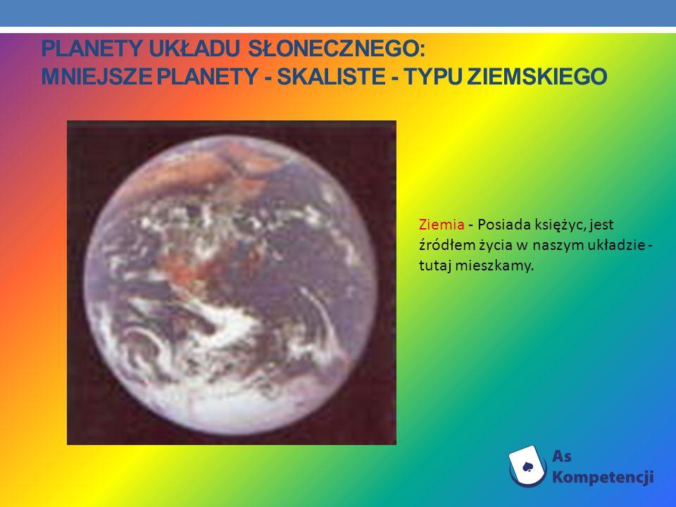 PLANETY UKŁADU SŁONECZNEGO: MNIEJSZE PLANETY - SKALISTE - TYPU ZIEMSKIEGO Ziemia - Posiada księżyc, jest źródłem życia w naszym układzie - tutaj miesz