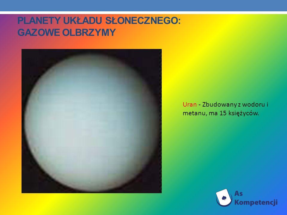 PLANETY UKŁADU SŁONECZNEGO: GAZOWE OLBRZYMY Uran - Zbudowany z wodoru i metanu, ma 15 księżyców.