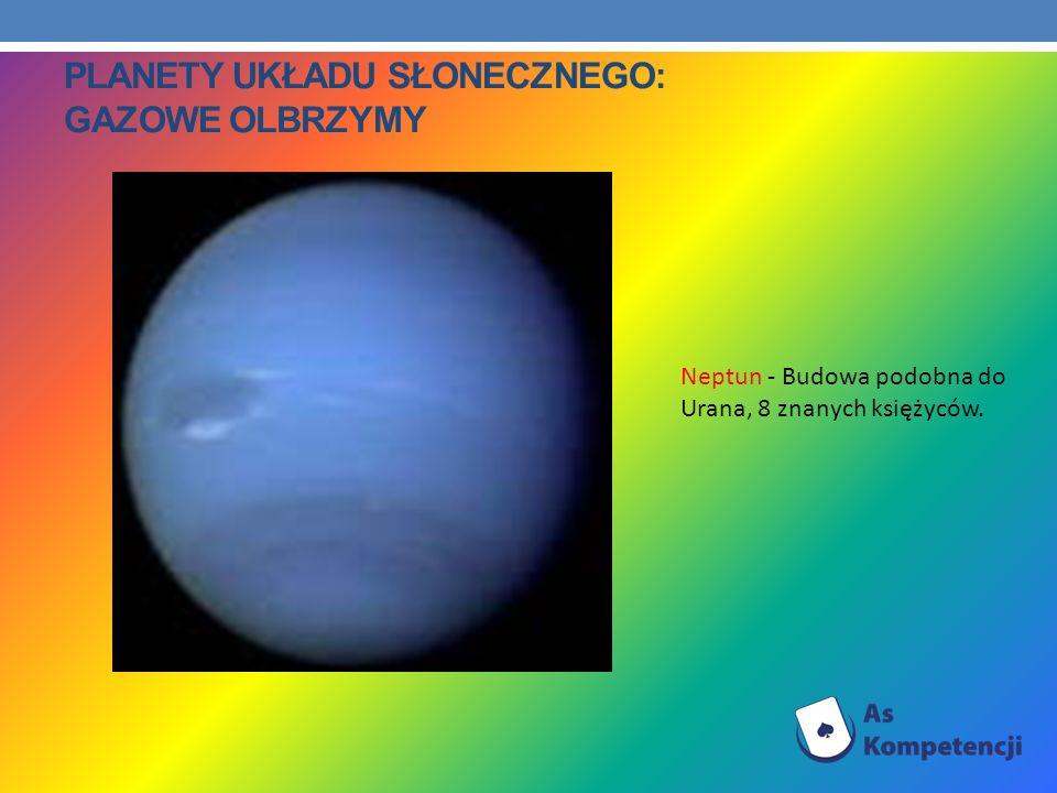 PLANETY UKŁADU SŁONECZNEGO: GAZOWE OLBRZYMY Neptun - Budowa podobna do Urana, 8 znanych księżyców.
